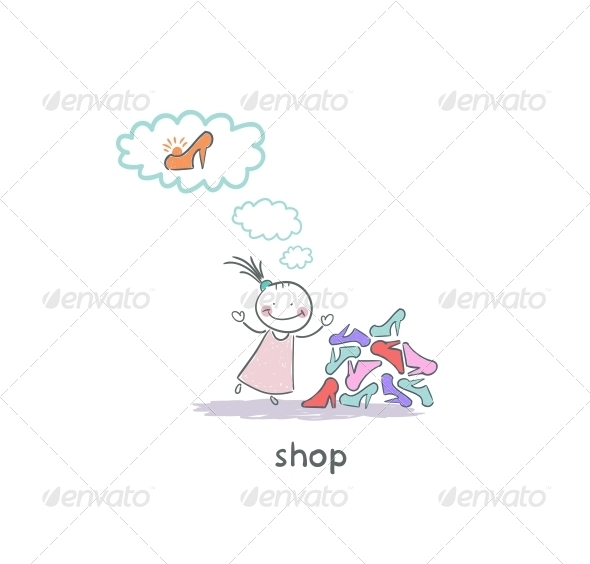 GraphicRiver A Girl in a Shoe Shop Illustration 4220760