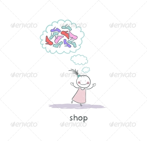 GraphicRiver A Girl in a Shoe Shop Illustration 4220766