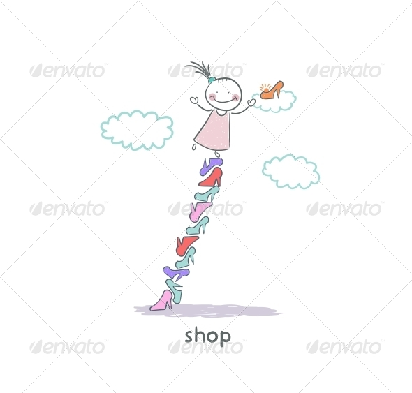 GraphicRiver A Girl in a Shoe Shop Illustration 4220775