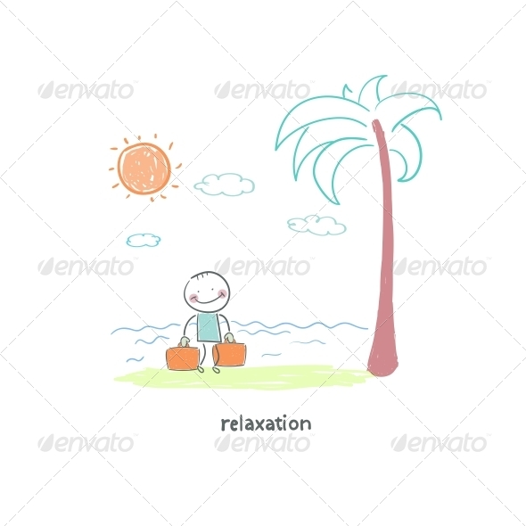 GraphicRiver A Man Came to the Beach Illustration 4220780