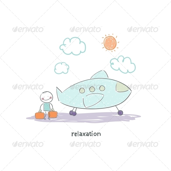 GraphicRiver Man Flying on Holiday by Plane Illustration 4220787