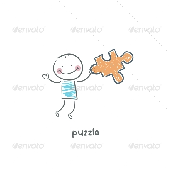 GraphicRiver Man and Puzzle Illustration 4220804