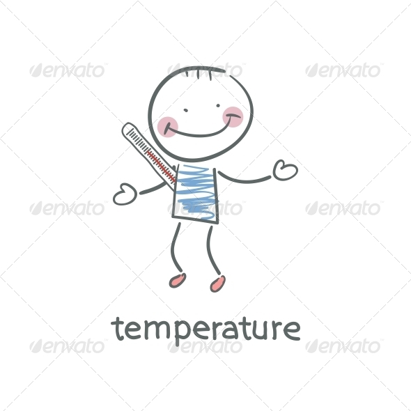 GraphicRiver Man Measures the Body Temperature Illustration 4220811