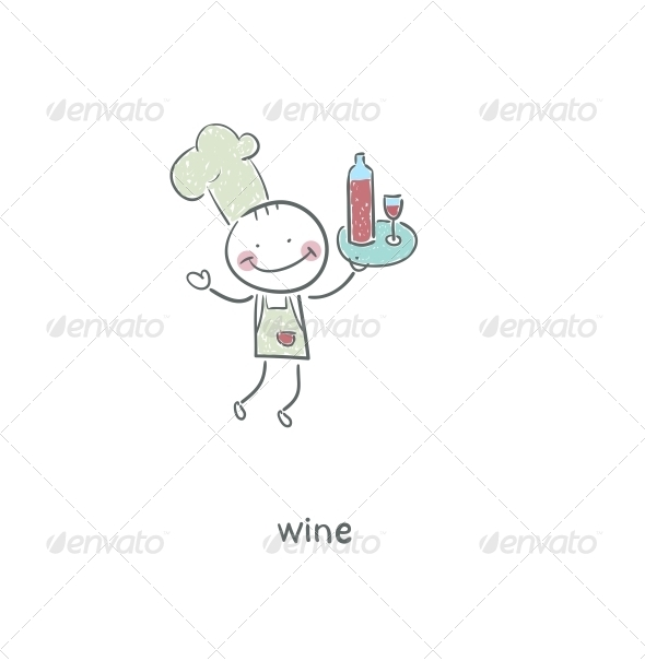 GraphicRiver Chef and Wine Illustration 4220819
