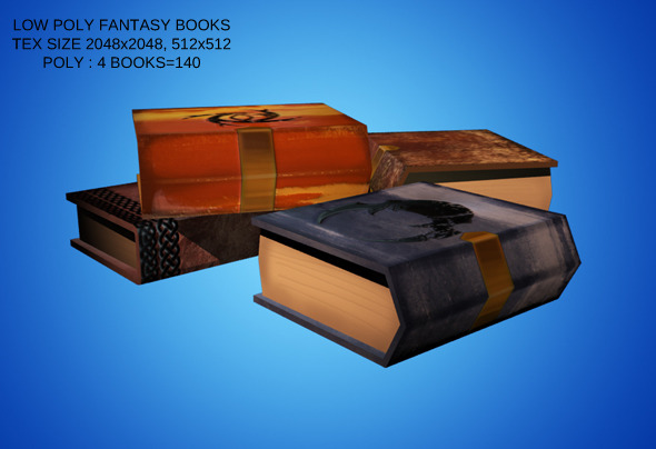 3DOcean Low Poly Set of 4 Fantasy Style Books 4220831
