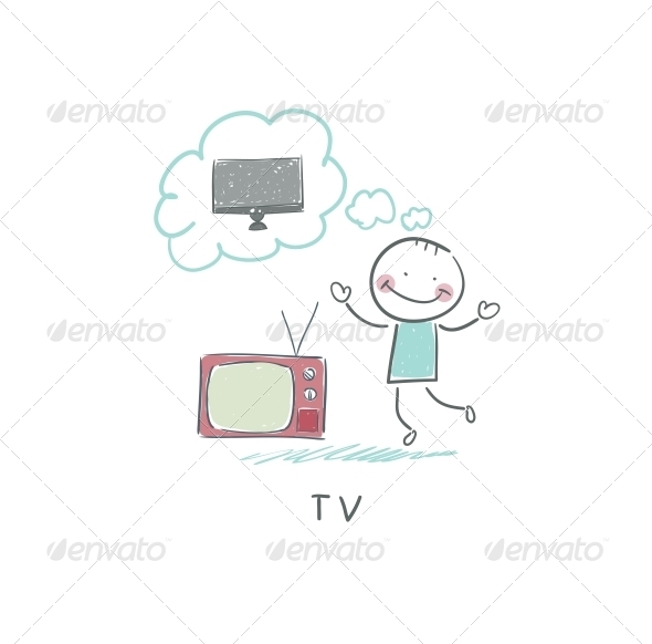 GraphicRiver Man Dreams of a New TV 4220833