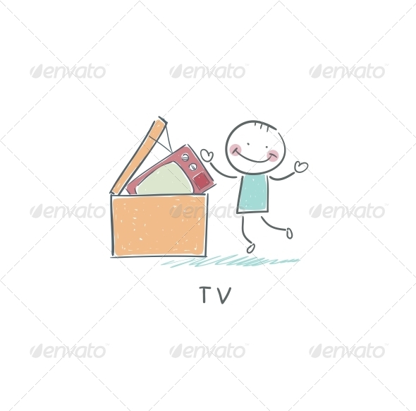 GraphicRiver Man Throws Garbage on TV 4220840