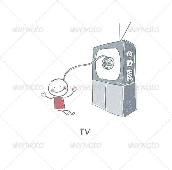 GraphicRiver Man and TV 4220870