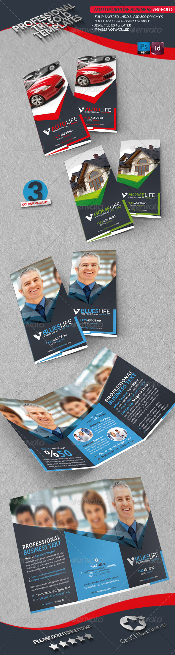 Multipurpose Business Tri-Fold - Brochures Print Templates