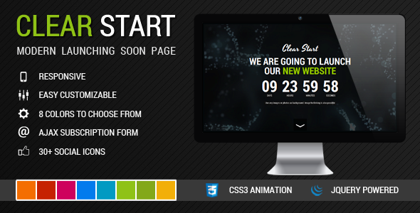 Clear Start: Modern Launching Soon Page