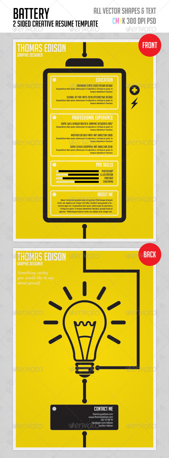 Battery - Creative Resume Template - Resumes Stationery