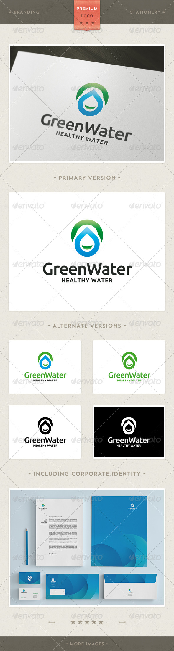 GraphicRiver Green Water Logo Template 3917299