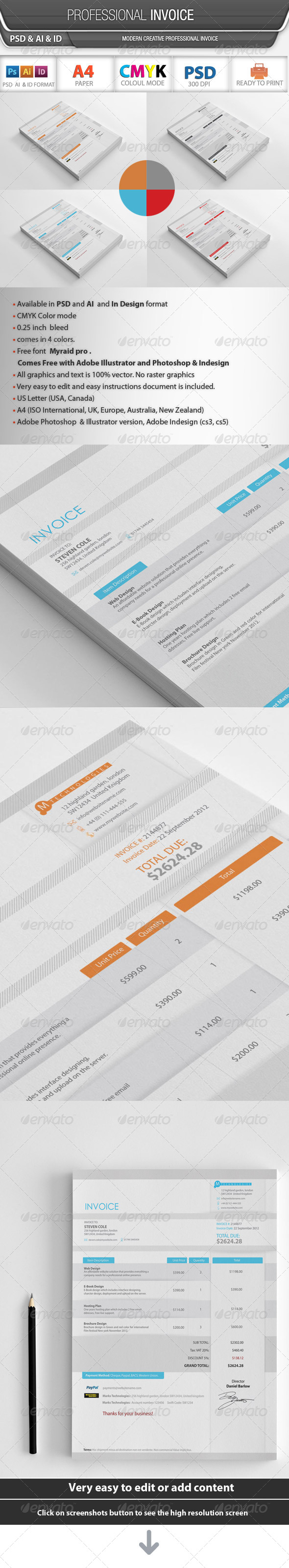 Professional Invoice - Proposals & Invoices Stationery