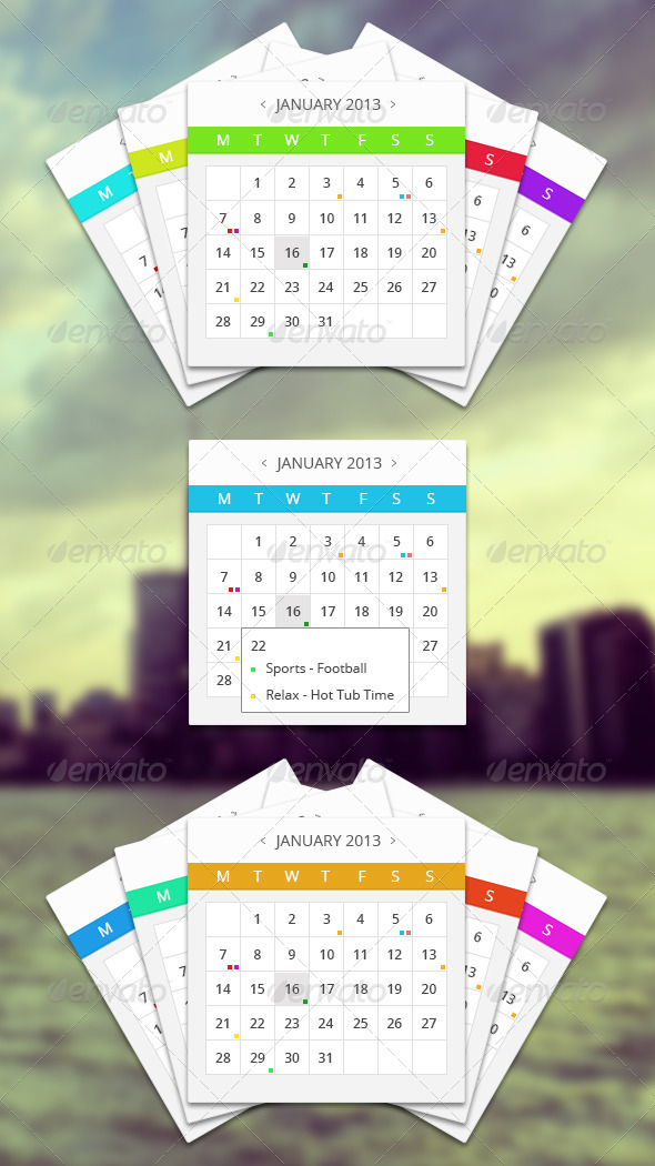 GraphicRiver Multiple Event Calendar With Hover 4226132