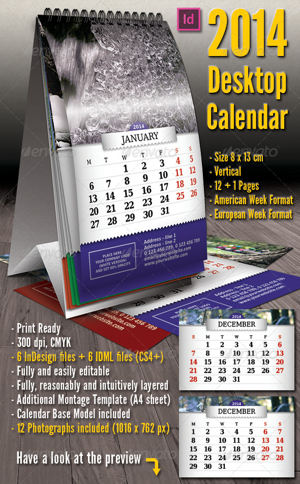 GraphicRiver 2014 Vertical Desktop Calendar 4047389