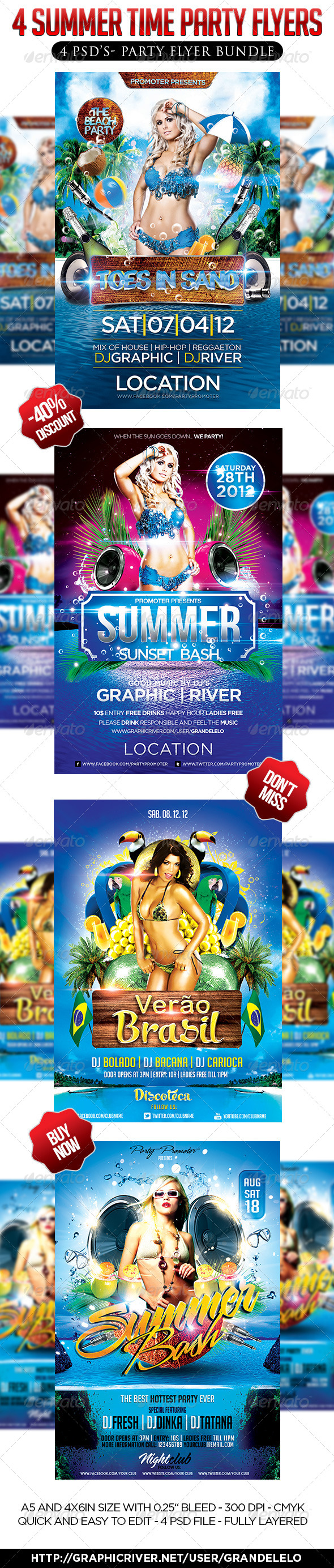 GraphicRiver 4 in 1 Summer Party Flyer Bundle 4228017