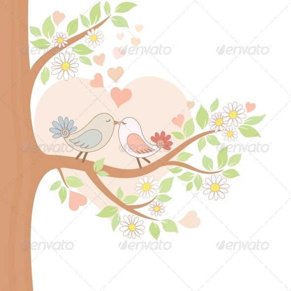 GraphicRiver Two Kissing Birds on the Tree 4228072