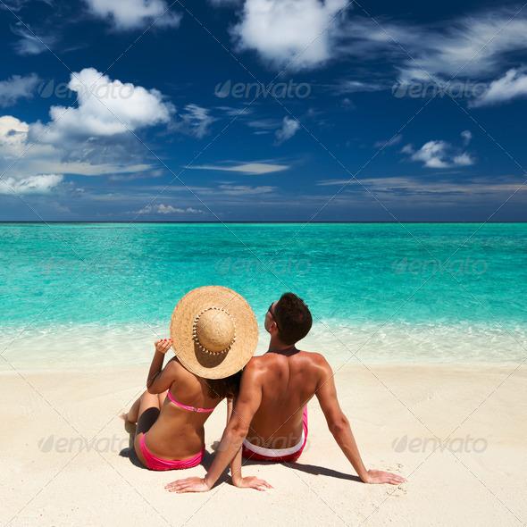 PhotoDune Couple on a beach at Maldives 4229630