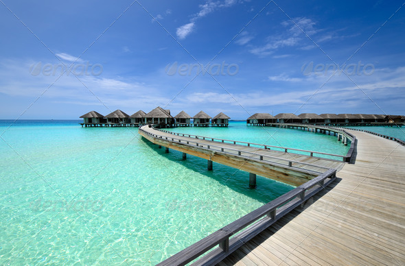 PhotoDune Beautiful beach with water bungalows 4229641