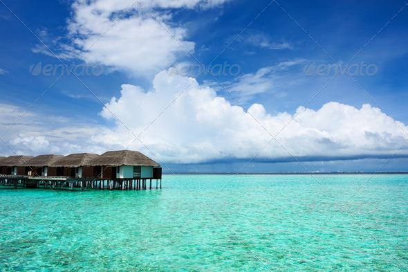 PhotoDune Beautiful beach with water bungalows 4229644