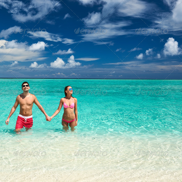 PhotoDune Couple on a beach at Maldives 4229653