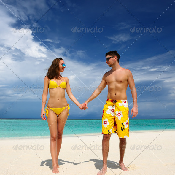 PhotoDune Couple on a beach at Maldives 4229682