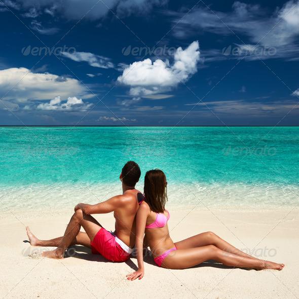 PhotoDune Couple on a beach at Maldives 4229686