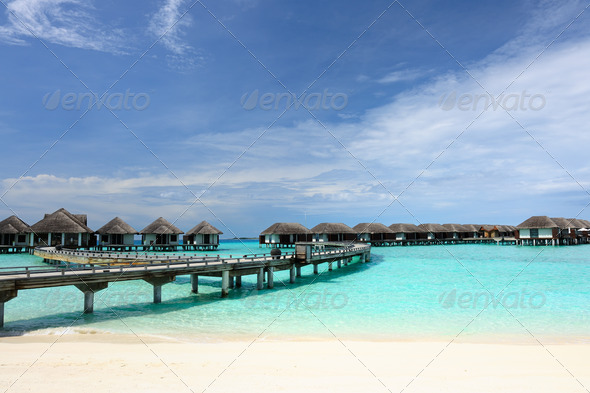 PhotoDune Beautiful beach with water bungalows 4229687