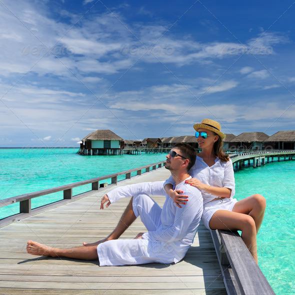 PhotoDune Couple on a beach jetty at Maldives 4229699