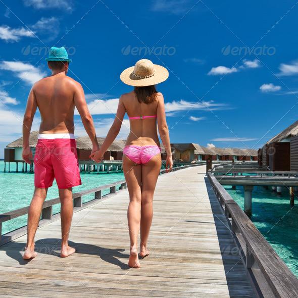 PhotoDune Couple on a beach jetty at Maldives 4229701