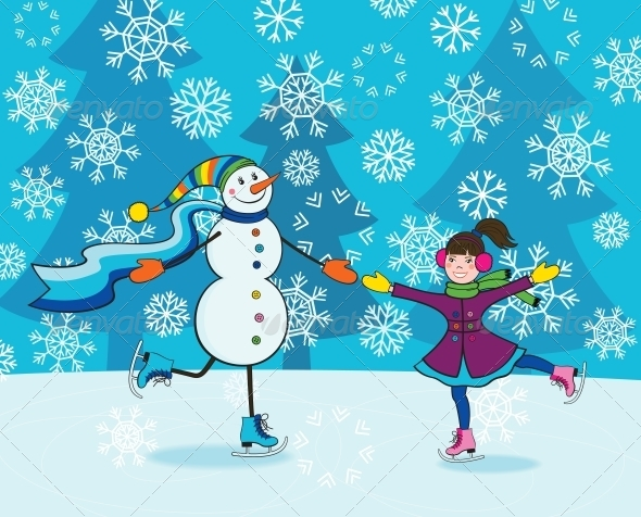 GraphicRiver Girl with Snowman Skating 4228308