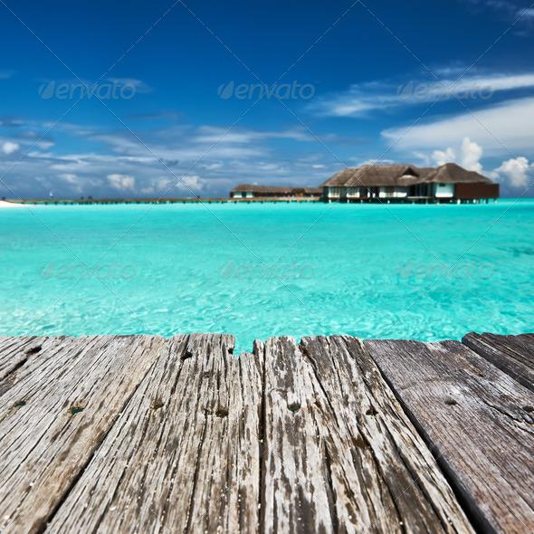 PhotoDune Beautiful beach with jetty 4229718