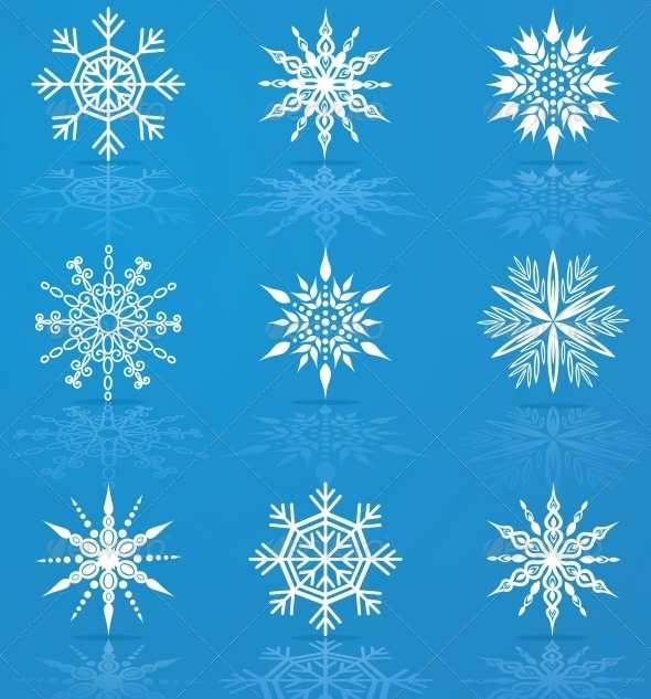 GraphicRiver Set of Vector Snowflakes 4228385