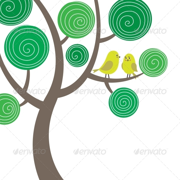 GraphicRiver Decorative Composition of Two Birds on the Tree 4228421