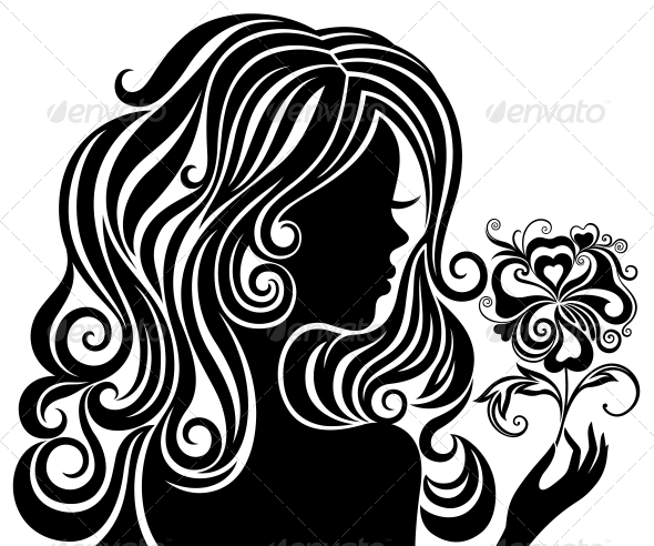 GraphicRiver Silhouette of a Girl with a Flower 4228483