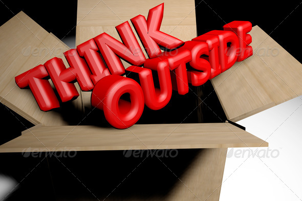 Think outside the box concept - Stock Photo - Images