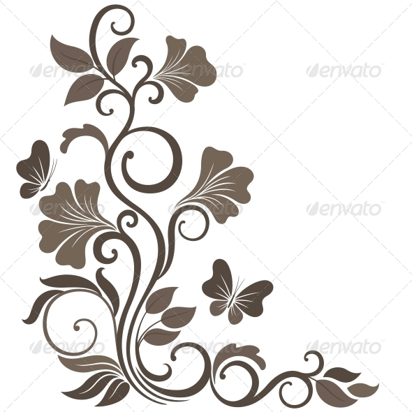 GraphicRiver Floral Vector Illustration in Sepia 4228519