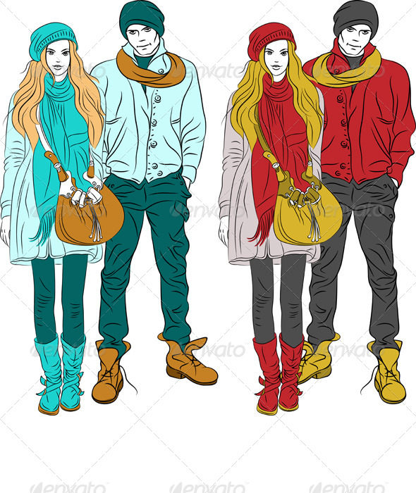 GraphicRiver Stylish Guy and Girl in Warm Clothes 4228847