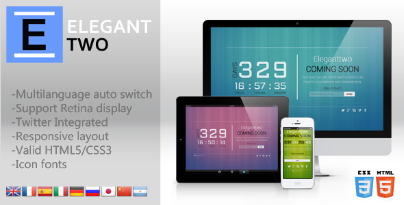 ThemeForest Eleganttwo Animation responsive coming soon page 4199649
