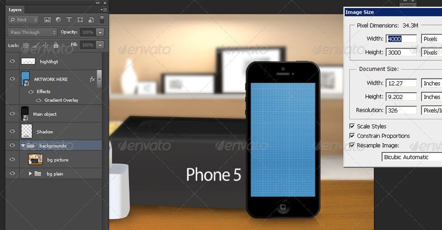 iPhone 5 Photorealistic Mock-UP