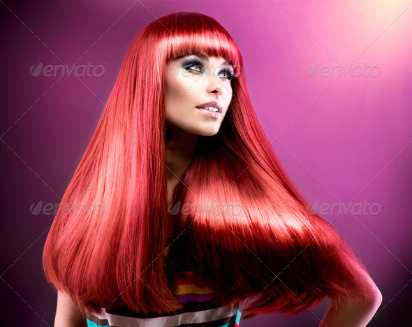 Healthy Straight Long Red Hair. Fashion Beauty Model - Stock Photo - Images