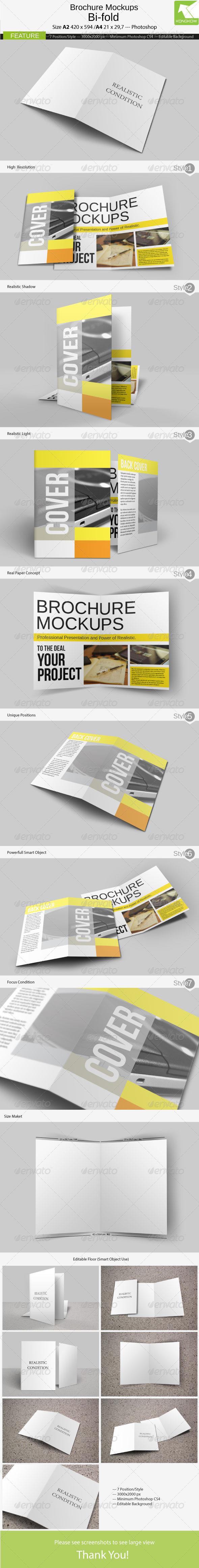 GraphicRiver Brochure Mockups Bi-fold A2 4142881