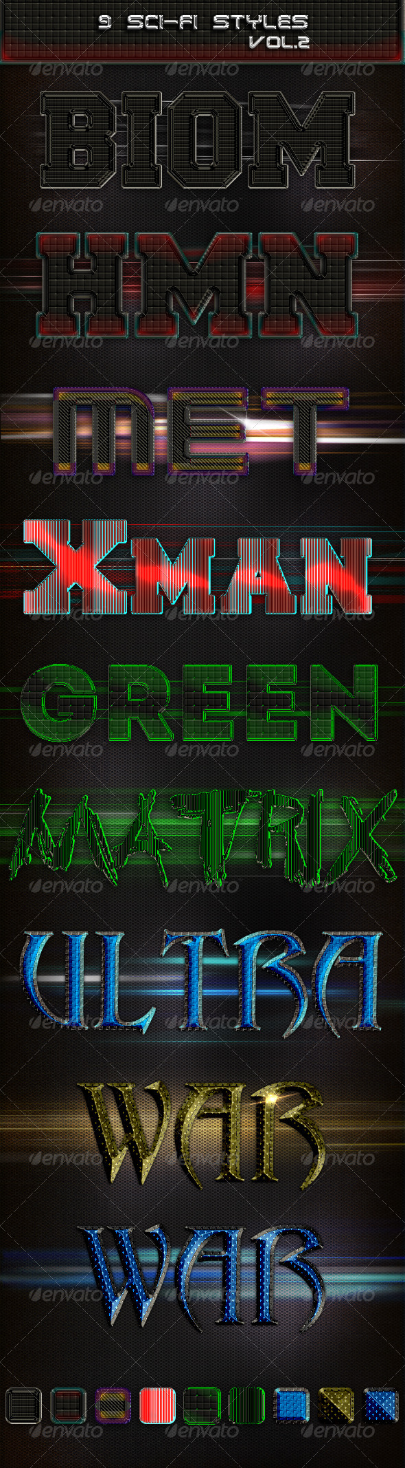 9 Sci-Fi Styles vol. 2 - Text Effects Styles