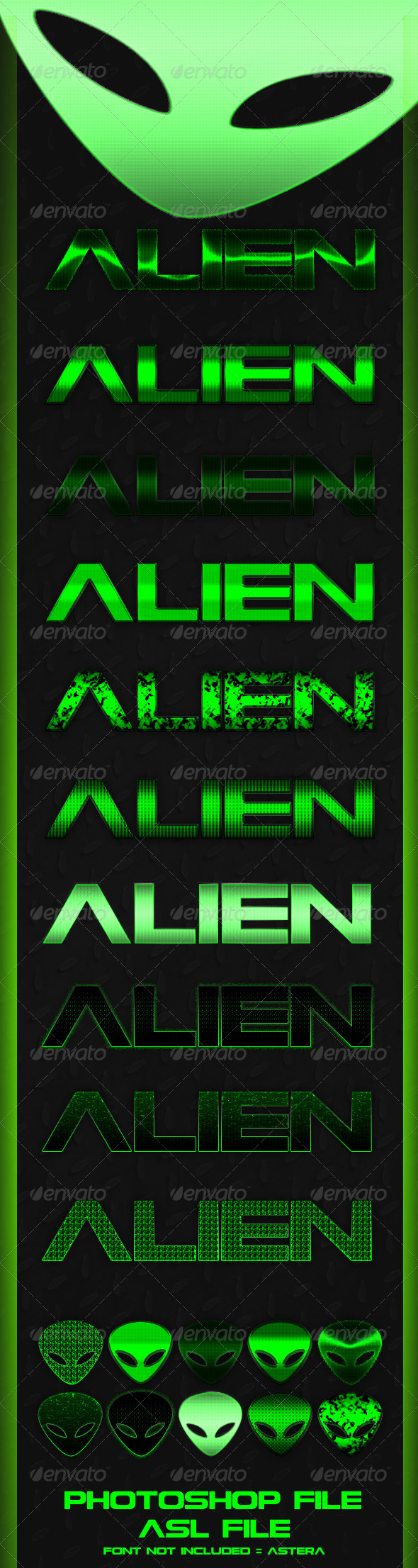 GraphicRiver 10 Alien Text Styles 4233176