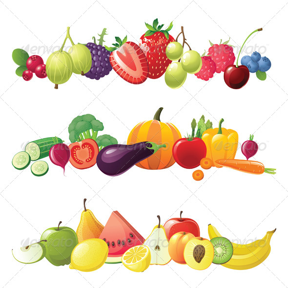 GraphicRiver Fruits Vegetables and Berries Borders 4233545