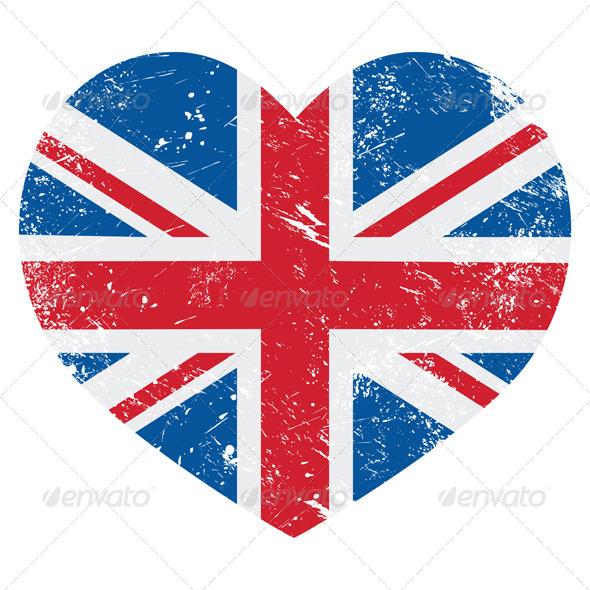 GraphicRiver UK Great Britain Retro Heart Flag Vector 4233572