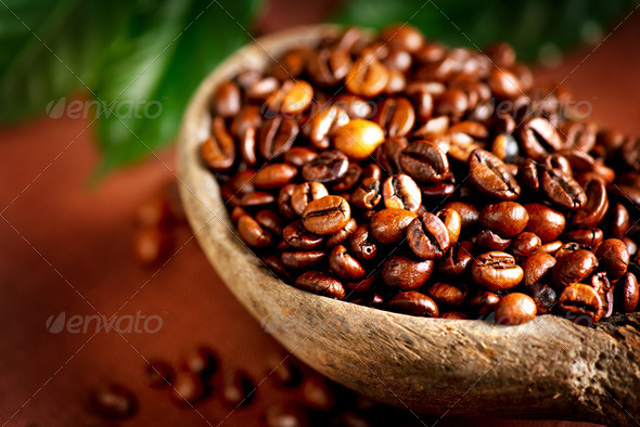 Coffee beans. Bowl of Aromatic Coffee close-up - Stock Photo - Images