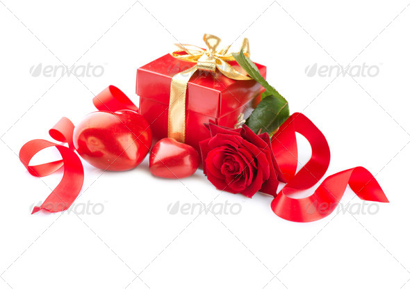 Valentines Hearts, Rose Flower and Gift Box isolated on white - Stock Photo - Images