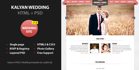 ThemeForest Kalyan One page HTML5 Wedding Template 4224827