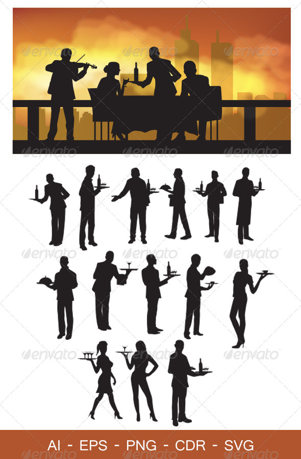 GraphicRiver Waiter Silhouettes 4234300